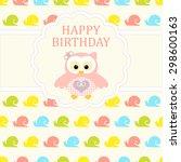 baby girl arrival card. baby... | Shutterstock .eps vector #298600163