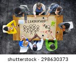 people in a meeting and... | Shutterstock . vector #298630373