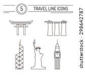 set of line travel icons
