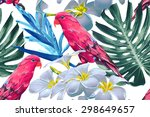 parrots  tropical flowers and... | Shutterstock .eps vector #298649657