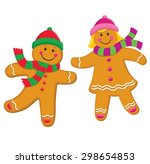 gingerbread kids with knit caps ... | Shutterstock .eps vector #298654853