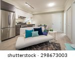 bright living room with kitchen ... | Shutterstock . vector #298673003
