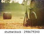 old bicycle with hay bale with... | Shutterstock . vector #298679243