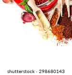 spices and seasonings on a... | Shutterstock . vector #298680143