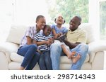 happy smiling family on the... | Shutterstock . vector #298714343