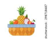 fruit basket isolated  lime ... | Shutterstock .eps vector #298718687