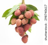 fresh lychees on white... | Shutterstock . vector #298740617