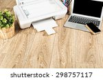 printer and computer. office...   Shutterstock . vector #298757117