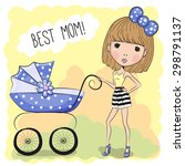 greeting card best mom with... | Shutterstock .eps vector #298791137