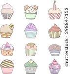 set of twelve cupcakes | Shutterstock .eps vector #298847153