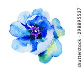 Flower Blue Peony Watercolor