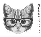 original drawing of cat with... | Shutterstock . vector #298907867