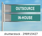 outsourcing. road sign on the...   Shutterstock . vector #298915427