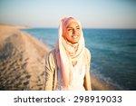 young beautiful happy muslim... | Shutterstock . vector #298919033
