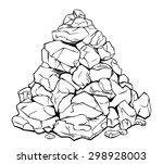 Cartoon Pile Of Rocks   Black...