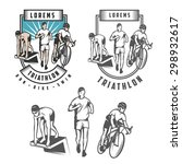 Triathlon Emblems And Design...