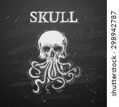 skull with octopus in a tattoo... | Shutterstock .eps vector #298942787