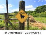 Alpaca Crossing Sign On A Fenc...