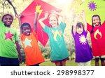 children flying kite playful... | Shutterstock . vector #298998377