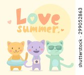 cute cartoon friends cats on... | Shutterstock .eps vector #299052863