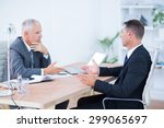 two serious businessmen... | Shutterstock . vector #299065697