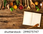 blank cookbook and spices on... | Shutterstock . vector #299075747