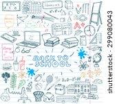 back to school supplies sketchy ... | Shutterstock .eps vector #299080043