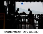 silhouette of people drinking... | Shutterstock . vector #299103887