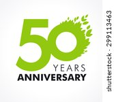 50 years old celebrating green... | Shutterstock .eps vector #299113463