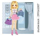 shopping girl. fashionable... | Shutterstock .eps vector #299161007