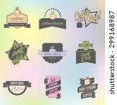 set of vector coffee shop logo...   Shutterstock .eps vector #299168987