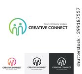 creative connect  people logo... | Shutterstock .eps vector #299187557