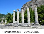 Small photo of PRIENE, TURKEY - JULY 3 2015: Temple of Athena Polias is at the foot of an escarpment of Mycale and five columns were re-erected in 1964.