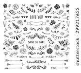 vintage hand drawn floral... | Shutterstock .eps vector #299217623