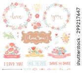 wedding vintage elements... | Shutterstock .eps vector #299217647