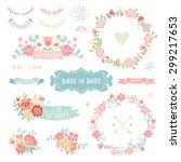wedding vintage elements... | Shutterstock .eps vector #299217653