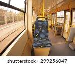 empty tram rides through the...