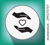 pictograph of heart in hand | Shutterstock .eps vector #299275757