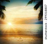background of a tropical beach... | Shutterstock . vector #299318807