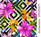 Tropical Floral Pattern With...