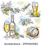 Beer And Hops Vector Decoratio...