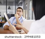 a caucasian male interviewer... | Shutterstock . vector #299481053