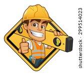 friendly builder with helmet ... | Shutterstock .eps vector #299514023