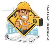 friendly builder with helmet ... | Shutterstock .eps vector #299514983