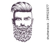 hand drawn portrait of bearded... | Shutterstock .eps vector #299523377