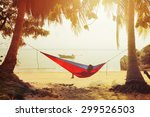 one man looking on the sea in... | Shutterstock . vector #299526503