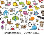 seamless pattern of doodle... | Shutterstock . vector #299546363