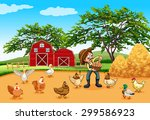 Farmer With Chickens And Eggs...