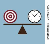 target and time clock on scale... | Shutterstock .eps vector #299597597