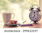 colorful macaroons and coffee... | Shutterstock . vector #299613197